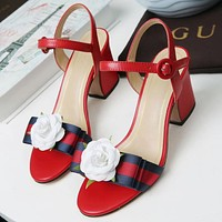 GUCCI Flower Women Fashion Sandals High Heels Shoes