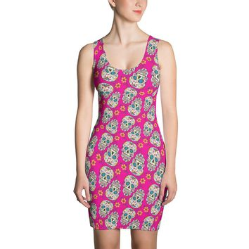Sugar Skull Day of The Dead HOT PINK Dress