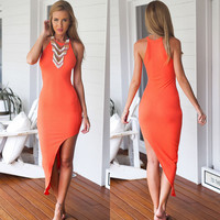 Orange Sleeveless Bodycon Midi Dress