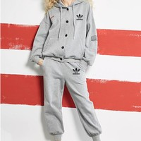 """Adidas"" Women Loose Casual Embroidery Thickened Long Sleeve Buttons Cardigan Hooded Sweater Trousers Baseball Set Two-Piece Sportswear"