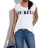 LINEN NY STENCIL MUSCLE TEE