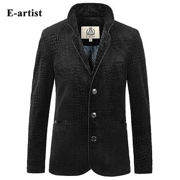 Spring Trending Men Crocodile Pattern Velvet Jackets Coats Slim Fit Causal Stand Outwear Overcoats