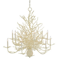 Currey & Company 9188 Seaward White Coral/Natural Sand Twelve-Light Chandelier