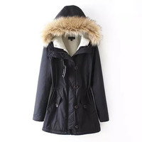 Dark Blue Hooded Elastic Parka