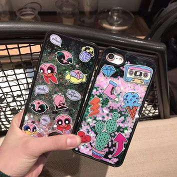 Luxury star love sequins glitter powder liquid quicksand powerpuff girl ice cream cactus case For Iphone 6 6S 7 8 plus