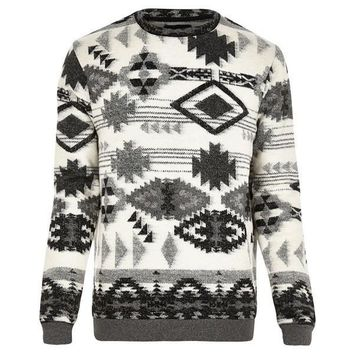 Grey Winter Tribal Sweater