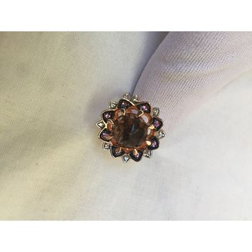 Vintage Handmade Genuine Smoky Topaz Pink Tourmaline rose gold  925  Sterling Silver gothic flower Ring