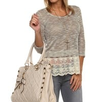 Sale-taupe Sweet Lace Inset Top
