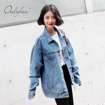 Ordifree 2017 Oversized Denim Jacket Coat Female Casual Outwear Loose Light Blue Plus Size Women Jeans Jacket