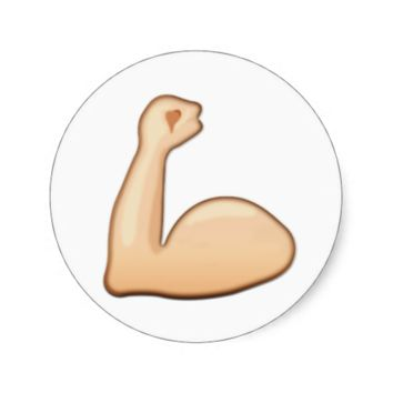 Flexed Biceps Emoji Round Sticker
