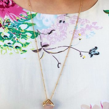 The Right Direction Necklace: Pink/Gold