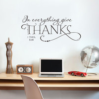 In everything give THANKS Christian Jesus Vinyl Quotes Wall Sticker Art decal room