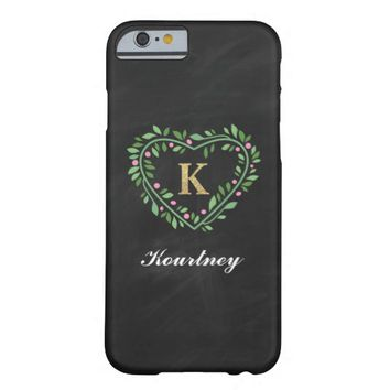 MONOGRAM FLORAL HEART PHONE CASE | LETTER K BARELY THERE iPhone 6 CASE