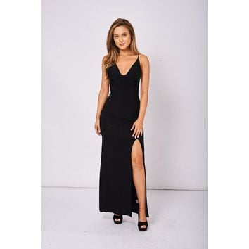 Black Slinky Deep Plunge Maxi Dress Ex-Branded