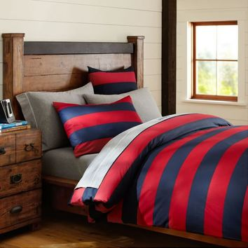 Rugby Stripe Duvet Cover + Sham, Navy/Red