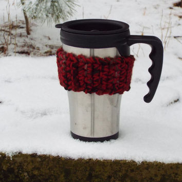 Reusable Cup Cozies, set of 3- Red Coffee Cozy- Coworker Gift- Crochet Cozy- Drink Holder- Coffee Cuff- Drink Sleeve