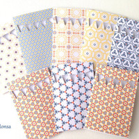 Blue, coral and yellow handmade greeting cards set of 8 with envelopes, geometrical pattern blank cards, thank you cards, geometric cards,