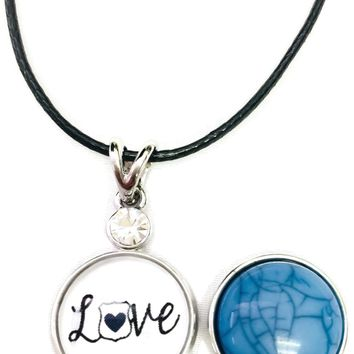 "Love Heart Badge Officer Thin Blue Line Snap on 18"" Leather Rope Diamond Pendant Necklace W/ Extra 18MM - 20MM Snap Charm"