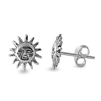 Sterling Silver Smiling Sun Stud Earrings