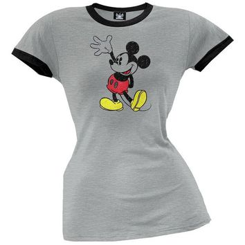 DCCKIS3 Mickey Mouse - Distressed Mickey Juniors T-Shirt