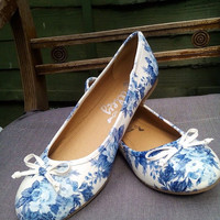 Custom made flat shoes blue floral print hand made flowers white no heels