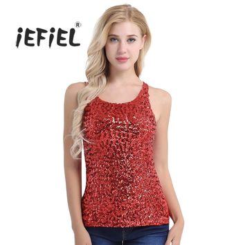 9 Color Women Shine Glitter Sequin Embellished Sleeveless Round Neck Vest Tank Tops for Dancing Cocktail Costume Party Clothing