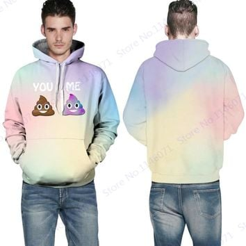 Print YOU ME Mr Goo Sweatshirts Hoody Funny Emoji Harajuku Skateboarding Hoodies Long Sleeve Sweatshirt Men Leisure Sweater