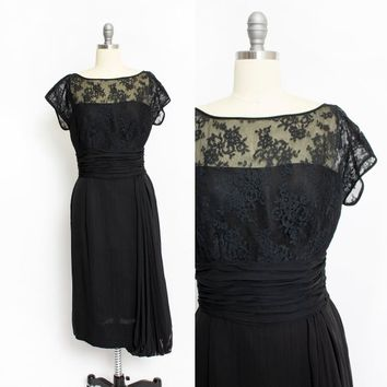 Vintage 1950s Dress - Black Illusion Rayon Chiffon Lace Cocktail - Medium