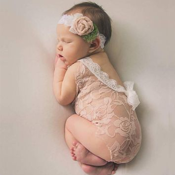 New Baby Romper Overall Pixie Lace Newborn Photography Props Princess Girl boy Bebe,Baby Photography Props Baby Clothes Romper