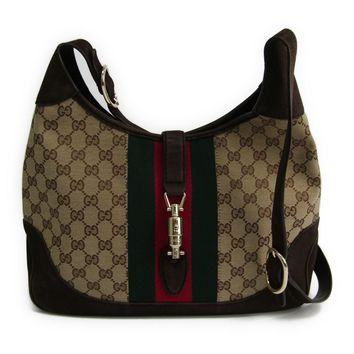 Gucci New Jackie 277520 Women's GG Canvas/Webbing Leather Shoulder Bag BF315061