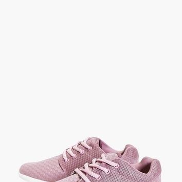 Kara Textured Lace Up Trainer | Boohoo
