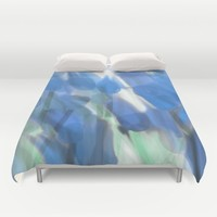 Meadow Flowers  In Soft Blue Duvet Cover by Jen Warmuth Art And Design