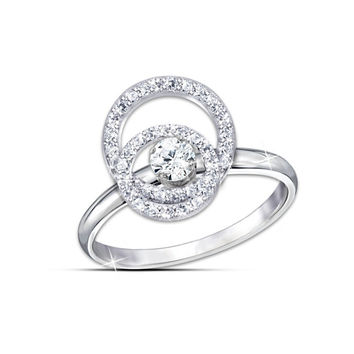 Luxury Center 0.5 Carat Synthetic Diamond  For Girl 925 Sterling Silver Gold Plated Ring  Spinning Wedding Rings