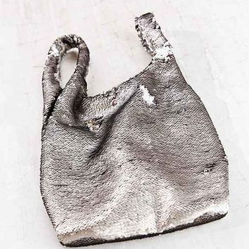 Ecote Allover Sequin Shopper Bag- Silver One
