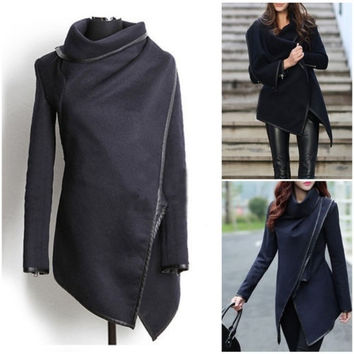 2015 Women Lady's Slim Winter Warm Trench Coat Long Wool Jacket Outwear Parka = 1956968260