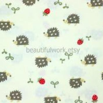 Super kawaii Japanese Fabric With Hedgehog and by beautifulwork