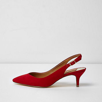 Red slingback kitten heel shoes - The Instagram Edit - Sale - women