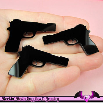 3 pc Black HAND GUN PISTOL Flatback Decoden Cabochons 37x25mm