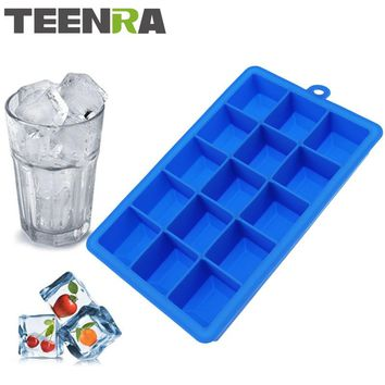 TEENRA 1Pcs 15 Cavity Silicone Ice From Mini Square Ice Cubes Silicone Mold Trays Ice Maker Freezer Tray Candy Mold Kitchen Tool