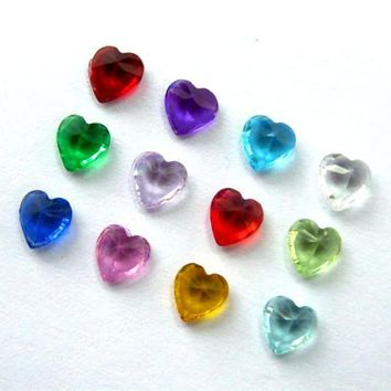10pcs heart shape 5mm 12 months birthstone charms floating charm for memory living locket as Mom Dad sister brother grandma gift