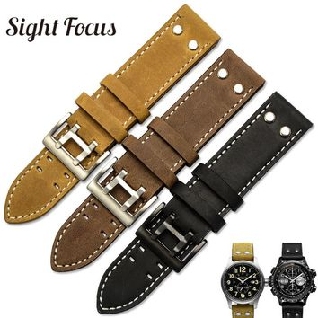 22mm Crazy Horse Calf Leather Straps for Hamilton Watch Band Khaki Rivet Mens Military Pilot Field Aviation Watch Bracelet Belts
