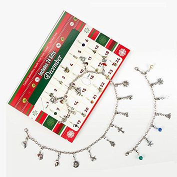 AUGUAU Advent Calendar 2017,Charm Bracelet Necklace with 22 Charms Fashion Jewelry Christmas Advent Calendars for Kids