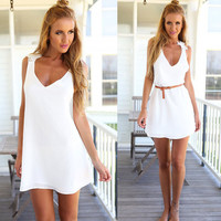 White Cross Back Lace Strap Dress