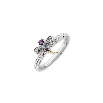 Sterling Silver, 14k Accent, Gemstone & Diamond Dragonfly Stack Ring