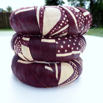 Brown and Ecru Ankara Wax Fabric Bangle