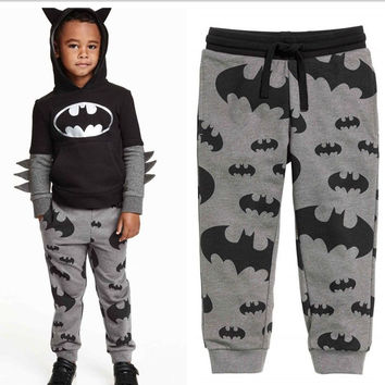2015 Autumn Boys Kids Cartoon Batman Printed Pants Casual Grey Trousers 2-7Y
