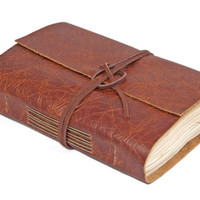 Rustic Brown Leather Journal with Tea Stained Paper - Ready to Ship -