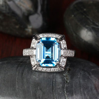 Emerald Cut Blue Topaz Engagement Ring  Diamond Wedding 14k White Gold- 3.87ct