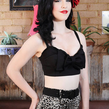 Pin up rockabilly black bow crop top