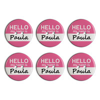 Paula Hello My Name Is Plastic Resin Button Set of 6